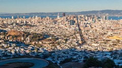 San Francisco landskape. Twin Peaks. Zoom timelapse.  America. USA Stock Footage