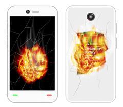 Broken smartphone explosion with burning fire Stock Illustration