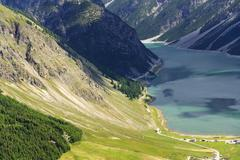 Aerial view of Livigno lake in Alps Mountains, Lombardy, Italy Stock Photos
