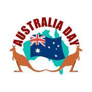 Australia Day emblem. Kangaroo Australian flag and map. Stock Illustration