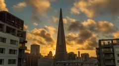 San Francisco. Transamerica Pyramid. Timelapse. Sunset clouds. America. USA Stock Footage