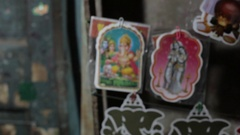 CU R/F Stickers of Hindu Gods / India Stock Footage