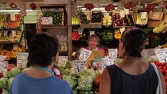 MH Woman Shopping in Vegetable Market / Venice, Italy Stock Footage