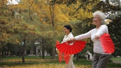 MS PAN Two elderly women dancing holding red fans in park / Beijing, China Stock Footage