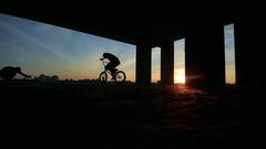 BMX boy pedaling Stock Footage