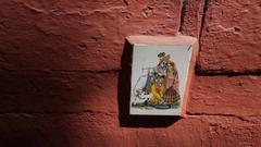 CU Painted tile of Hindu Deity / India Stock Footage