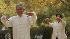 MS PAN Two elderly men doing Tai Chi in park / China Stock Footage