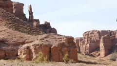 Charyn Canyon Rocks Majestic Cliffs Kazakhstan 4K Stock Footage