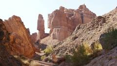 Majestic Cliffs Charyn Canyon Rocks 4K Stock Footage