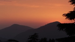 WS Sunset view of foothills of Himalayan mountains / India Stock Footage