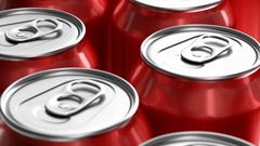 Realistic 3D looping animation of red soda cans Stock Footage