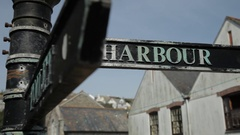CU ZI Harbour Street Sign / Cornwall, England, UK Stock Footage