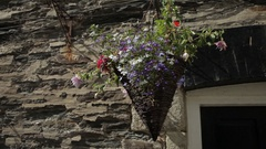 MH LD Potted Flowers Hanging from Stone House / Cornwall, England, UK Stock Footage