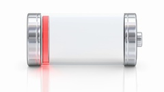 Battery charging and discharging on the white reflecting surface 3D animation Stock Footage
