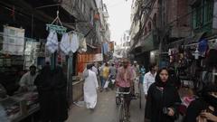 REAR POV WS Busy market street / New Delhi, India Stock Footage