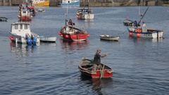 WS Man Rowing Boat in Harbour / Cornwall, England, UK Arkistovideo