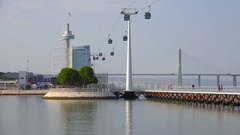 Vasco da Gama Tower and funicular on embarkment of Portugal capital Lisbon Stock Footage