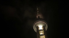 LA MS The Oriental Pearl Tower at night / Shanghai, China Stock Footage