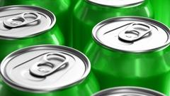 Realistic 3D looping animation of green soda cans Stock Footage