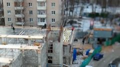 ODINTSOVO, RUSSIA . Timelapse clip of building construction. Stock Footage