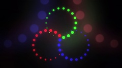 Red, green and blue rotating blending cirles Stock Footage