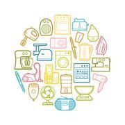 Circle set of contour home appliances icons Stock Illustration