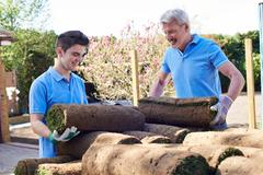 Landscape Gardeners Laying Turf For New Lawn Stock Photos