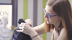 Black dog health care cleaning ears at dog salon 4K Stock Footage
