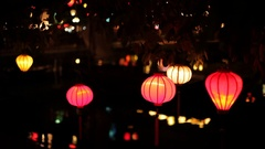 WS LD Lanterns Reflecting in Water / Hoi An, Vietnam Stock Footage