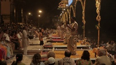 WS Aarti Puja ceremony at Ganges / Varanasi, India Stock Footage