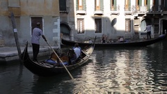 WS Gondola Floating down Canal / Venice, Italy Stock Footage