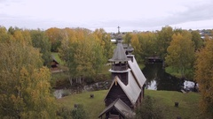 Kostroma Sloboda. The Church Of All-Merciful Saviour. Aerial shot Stock Footage