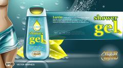 Digital vector aqua and yellow shower gel Stock Illustration