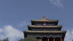 LA PAN WS Chinese Temple in Jing Shan Park/ Beijing, China Stock Footage