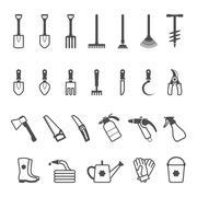 Vector icon set of garden tools Stock Illustration