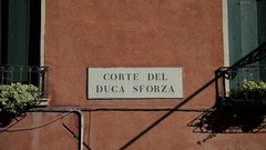 CU LD Exterior of Corte Del Duca Sforza with Sign / Venice, Italy Stock Footage
