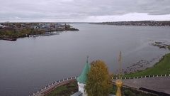 Aerial shot dome of the Church on the background of the river Stock Footage