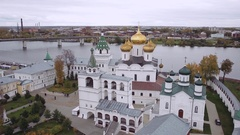 Top view of the Kostroma and the Ipatievsky monastery. Golden ring of Russia Stock Footage