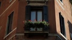 MH LA LD Potted Flowers in Windowsill / Venice, Italy Stock Footage