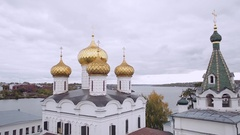 Top view of the Ipatiev monastery in Kostroma Stock Footage