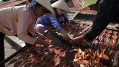 MH LD Women Laying Fish out on Beach to Dry / Vietnam Stock Footage