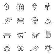 Vector icon set of garden tools and accessories Stock Illustration