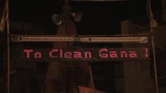 MS Digital sign displaying hindu slogan / Varanasi, India Stock Footage