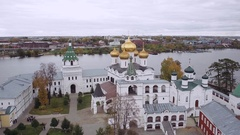 Aerial shot Ipatiev monastery in Kostroma Russia Stock Footage