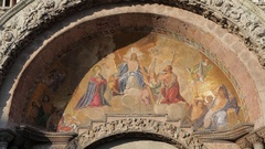 MH LD Biblical Scene Painted on Wall of Basilica San Marco / Venice, Italy Stock Footage