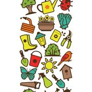 Seamless pattern of garden tools and accessories Stock Illustration