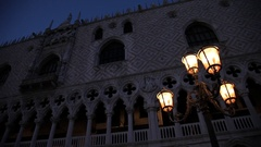 MH LA PAN Historic Buildings with Illuminated Street Lamps at Night / Venice, Stock Footage