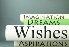 Stack of books, dreams, wishes, aspirations, imagination Stock Photos