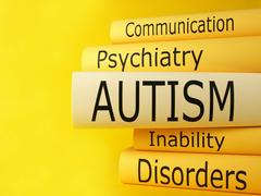 Stack books, autism, communication, psychiatry, inability, disorders Stock Photos