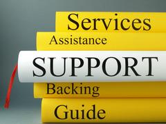 Stack of books, support, services, assistance, backing, guide Stock Photos